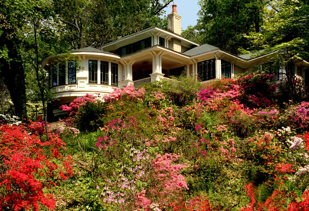 Generous porches and a semi-circular family room, with huge curving windows, float above a hillside of azaleas.