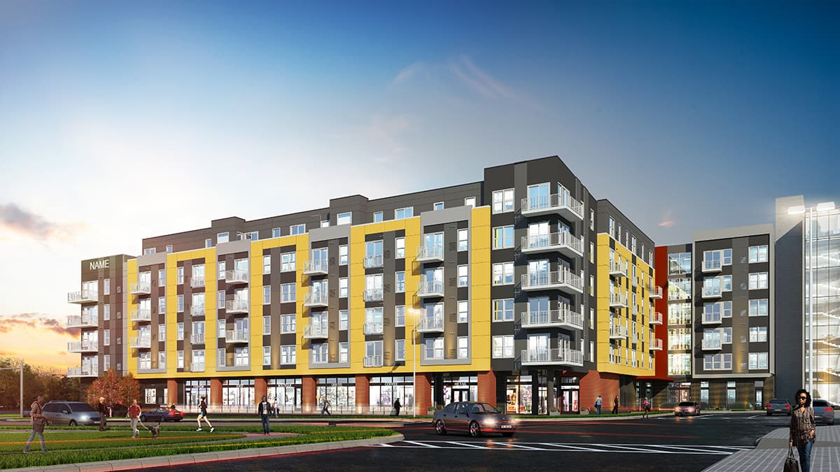 BKV Group was commissioned by Urban Atlantic to provide full architectural, interiors and engineering services, master planning, programming, entitlement, design and construction administration for the apartment building in the New Carrollton Town Center complex.