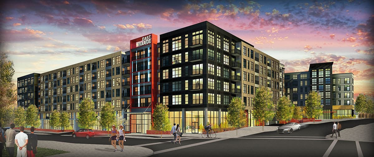 East Village at North Bethesda Gateway is a two-phase, 614-unit, mixed use development that reinvigorates the site of a former suburban office building into a walkable, transit-oriented community.